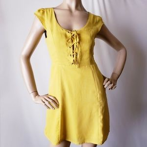 Lulu's Mustard Yellow Lace Up Front Dress